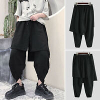 Men's Casual Baggy Harem Irregular Dress Skirt Pants Gothic Punk Style Trousers