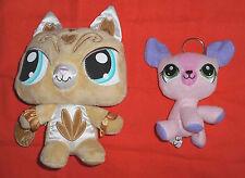 2 peluches : Chats à grosse tete - LPS Littlest Pet Shop Hasbro - beige + rose