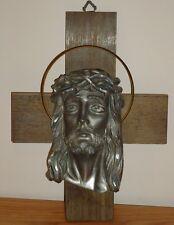 "Crucifix CROSS & METAL JESUS HEAD wood look plastic cross 9.5"""