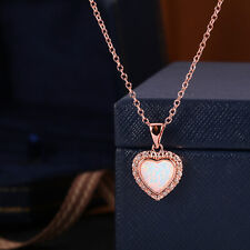 Sevil 18K Rose Gold Plated Created Fire Opal Heart Necklace W Swarovski Elements