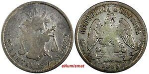 MEXICO Silver 1883/2 ZS S 25 Centavos Zacatecas SCARCE OVERDATE KM#406.9 (082)