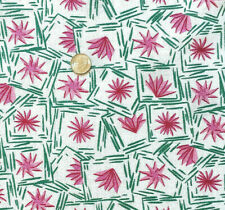 """Vintage Cotton Full Feed Sack 1930's Pink & Green Old Time Design 43"""" x 36"""""""