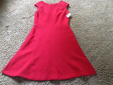 CHAPS women's NWT sz 6 red sleeveless zip up the back mid length lined dress