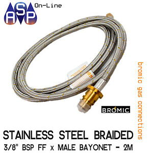 2MTR STAINLESS STEEL BRAIDED GAS HOSE 3/8 BSP W/ BAYONET COUPLING NATURAL & LPG