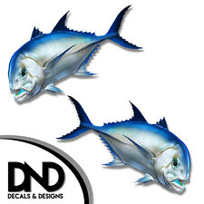"""Giant Trevally - Fish Decal Fishing Tackle Box Bumper Sticker """"5in SET"""" F-0210 &"""