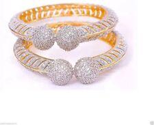 gold plated white ball cz Asian Bollywood Cubic India Bridal Bangle Bracelet 201