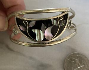 Lovely Alpaca Silver Black Enamel Tulip Abalone Shell Flower Cuff Bracelet