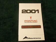 2001 PONTIAC MONTANA EXTERIOR COLOR CHIP All-Models Brochure MINT ~ NY