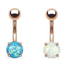 2 - Opal Glitter Prong Set Rose Gold IP Surgical Steel Belly Button Ring B531