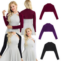 Women's Long Sleeve Cotton Bolero Shrug Crop Top Stretch Short Cardigan Sweater