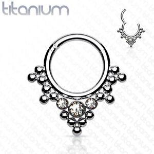 1.2mm Titanium Hinged / Clicker Ring + Mini Ball CZ Cluster ~ Septum, Daith