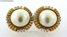 Vintage Mabe Pearl 14k Yellow Gold Diamond Earrings