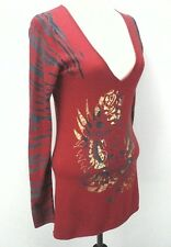 EUC $110 Ed Hardy Womens Red Gray Gold Zebra Print Long Sleeve Shirt Dress Large