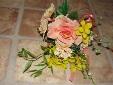 Corsages & Boutineers Custom Pin-on Silk Peach Rose Proms Graduations Weddings