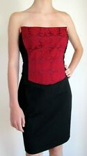 NICOLE MILLER Red Black Panel Brocade Jacquard Print Bustier Top Pencil Dress 8