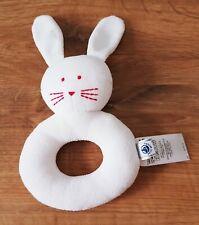 Doudou hochet  Petit Bateau  lapin blanc rouge  NEUF