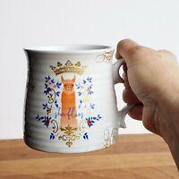 She Flies crowned llama pottery mug by Patina Vie gold floral 12oz coffee tea