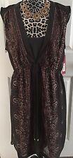 NWT Merona Brown Plum Paisley Print Tunic Dress Size XL Peasant Lined Mini