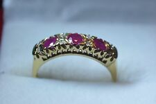 BN 9ct gold ruby and diamond ring fancy setting size O