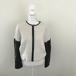 Derek Lam 10 Crosby Womens Jacket Sz 6 EUC Leather/white Fabric Contrast Sleeves