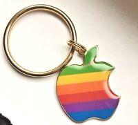 Vintage Apple Macintosh Rainbow Multi-Color Computer Logo Key Chain Steve jobs
