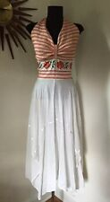 True Vtg 70s Boho Hippie Embroidered Halter Top Dress Gauze Handkerchief Skirt M