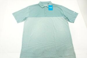 New Columbia Golf Omni-Wick Stacked Polo Mens Size Large Green/Off White 806591