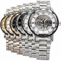 1pc Mens Classic Steampunk Skeleton Transparent Mechanical Stainless Steel Watch