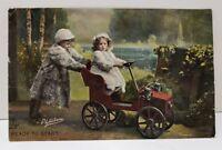 "1908 Little Motorists Postcard Children Driving"" Raphael Tuck Channel Islands A3"