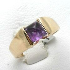 Vintage 14k yellow gold purple AMETHYST ring square Bullet cut 1.75 carat Estate