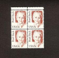 5 CENT PEARL BUCK, SCOTT # 1848, BLOCK OF 4, MNH HENNA HISTORICAL FIGURE  1983