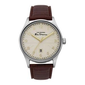 Ben Sherman Script Cream Dial Brown Leather Strap Gents Watch BS017BR