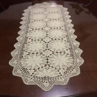 Vintage Lace Table Runner Topper Hand Crochet Cotton Doilies Mat Wedding Dining