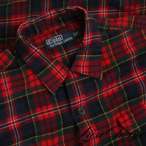 Polo Ralph Lauren Red Green Multi Plaid Tartan Suede Elbow Patch Flannel Shirt S