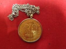 Necklace Old Poland Coin Gold Plated With 18 inch Stainless Steel Chain