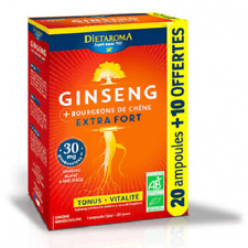 ♡♡ Dietaroma ♡♡ Ginseng Bio Extra fort Bougeons Chêne - 20 + 10 Ampoules - Neuf