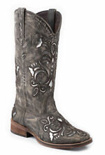 Roper Womens Cowboy Boots Square Brown Toe Sanded Leather Western Underlay, SZ 8