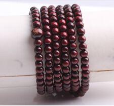 Hot new Tibetan Buddhist 216 wood Prayer Bead Mala Necklace Bracelet Jewelry Red