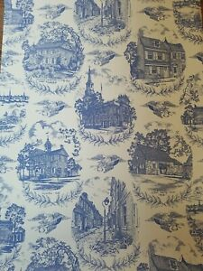 Vintage F Schumacher Wallpaper Colonial Blue Toile Early American Americana