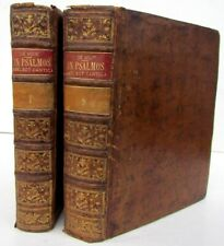 1770 2 Volumes King David Psalms Commentary Antique Leather Bound Books