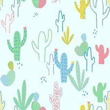 Mist Blue Desert Cactus Saguaro  By The yard Cotton Dear Stella