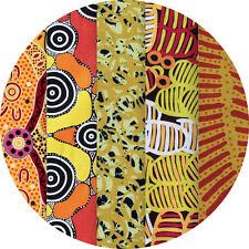 "JELLY ROLL - AUSTRALIAN ABORIGINAL ART FABRICS - 25 x 2.5"" STRIPS - YELLOW #1"
