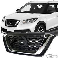 Fits For 2017 2019 Nissan Kicks Front Upper Bumper Grill Black Chrome Grille