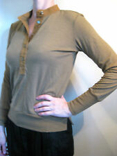 Bassike Size 0 or 8 Brown High Neck Merino Wool Button Sweater
