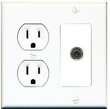 15 Amp Duplex Round Power Outlet 1 Port 3.5mm Headphone/Aux Wall Plate