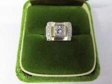 14K Retro Solid White Gold Concave Mounting Bead Set Diamond Ring 1970's Circa