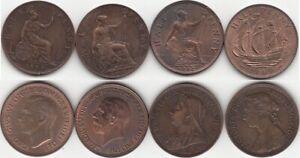Grande-Bretagne Lot de 4 monnaies de 1/2 Penny en cuivre 1889-1900-1932-1949-