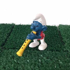 Smurfs Flautist Smurf 20048 Flute Music Vintage 1980 Figure Toy Schleich Peyo