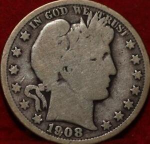 1908-O New Orleans Mint Silver Barber Half Dollar