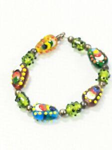 Artisan Sterling Silver 925 Green Blown Glass Lampwork Bead Bracelet 8 Inches